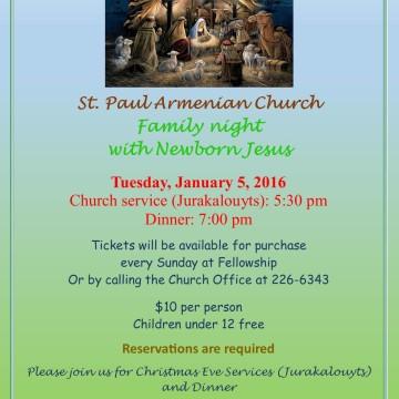 Armenian Christmas Eve – January 5, 2016